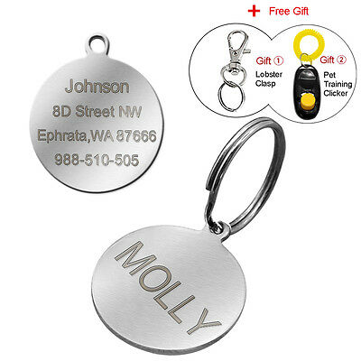 Round Stainless Steel Engraved Dog Tags Personalised Pet Cat ID tags Custom Free