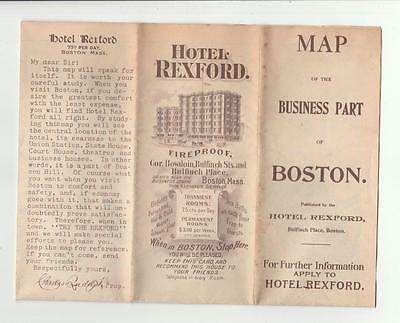 Early 1899 Hotel Rexford Map of Boston Walker Map Company