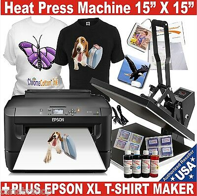 Heat Press Transfer T-Shirt Sublimation Machine + EPSON Printer + Starter Pack