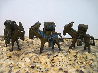 Vintage set of 3 Wooden Carved Donkeys carrying Buckets and Barrel
