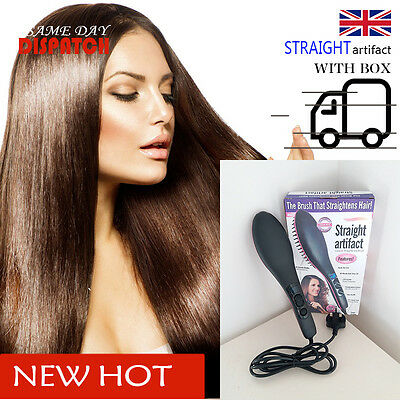 BOXED CERAMIC STRAIGHT LCD Digital Electric Heat Hair Straightening BRUSH