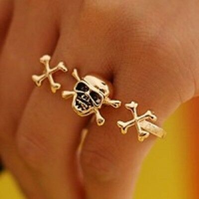 Wholesale lot 9 Rings in All!    Double Finger Skull Rings.....Size 8