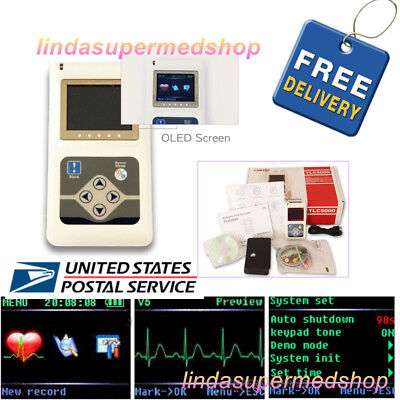 CONTEC 24H 12 Channel ECG Dynamic Holter EKG Monitor System+Software TLC5000 USA