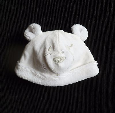 Baby clothes UNISEX BOY GIRL 0-3m white bear soft velour,cotton-lined ears hat