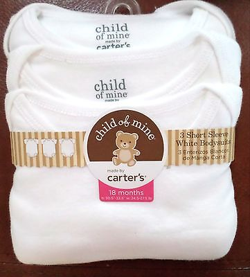Carter's Baby Short Sleeve White Cotton Bodysuits 3 Pack Size 18 Months Unisex