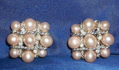 Clip Earrings Rhinestones Faux Pearls Tic Tac Toe Silvertone Rope Valentine VTG