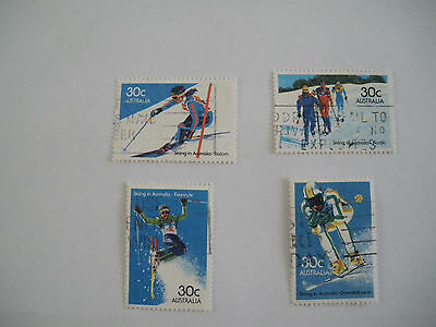 Stamps Australia    Set Of 4  Skiing  Stamps    1984   Used   Australian