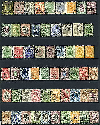FINLAND Old Mainly Used Lion Arms Stamps x50+ Postmark Interest? [N330