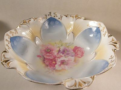 Rs Schlegelmilch Prussia  Red Marked  Bowl With Pink Poppies