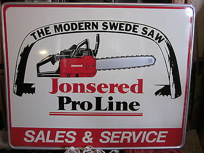 Minty embossed Jonsered chain saw tin sign. c. 60/70s