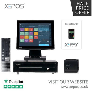 """17"""" Touchscreen EPOS POS Cash Register Till System for Takeaway Businesses"""