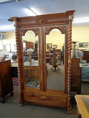 English Walnut Barley Twist 2 Door Armoire c.1890  Inv.#2485B