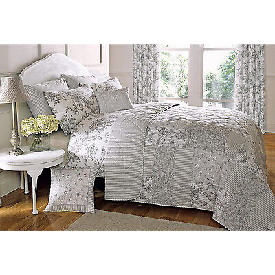 French Vintage Patchwork Quilted Bedspread with Reversible Stripe in Slate Grey