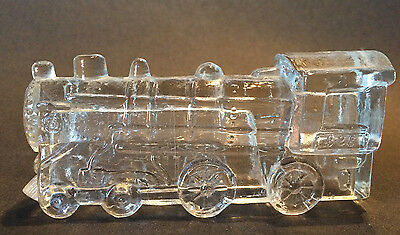 VINTAGE Glass Candy Container Railroad STEAM LOCOMOTIVE