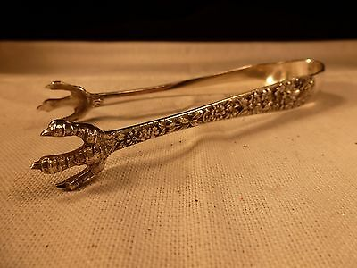 Antique Kirk & Son Co 925/1000 Sterling Silver Sugar Tongs High Relief Reposse