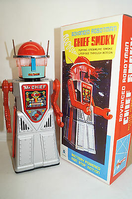 CHIEF SMOKY ROBOTMAN HA HA TOY Silber  Space Roboter China Re-Issue