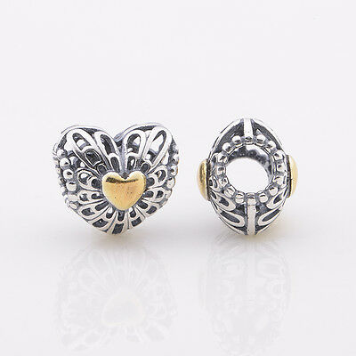Authentic Genuine Pandora Silver Gold Vintage Heart Charm 791275 NEWc4