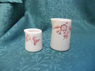 1956 Shenango China  Mini Cream Syrup Pitchers Maroon Floral Pattern