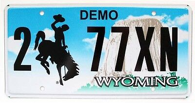 Mint Wyoming Car Dealer Demo License Plate, Devil's Tower, Cowboy, Bucking Horse