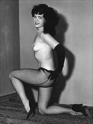 1950s Bettie Page Nude in Fishnet pantyhose 8 x 10 Photograph