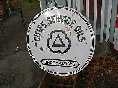 Gasoline Signs 1940 Cities Service Sign Double Sided 36 Ins Round Sign Porcelain