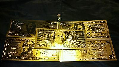 7Pc.LOT~COOL.999GOLD BANKNOTE REP*$5,10,20,50,100&COIN+GOLD FLAKE FREE~SHIPPING