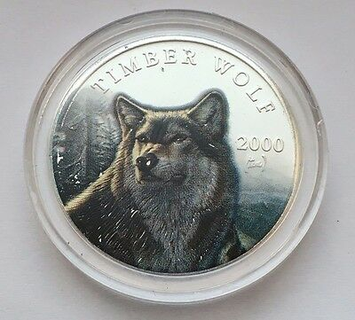 2000 Liberia Silver 10 Dollars Multicolor Timber Wolf In Winter Coin