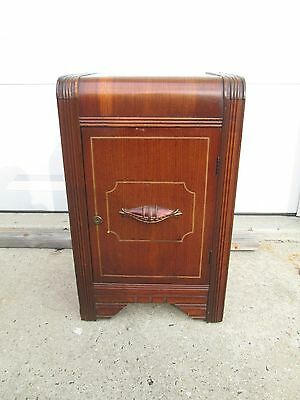 1930`S 40`s  ART DECO WATERFALL NIGHTSTAND / END / PHONE TABLE w/ LARGE CABINET