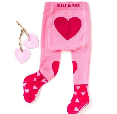 Blade And Rose Pink Heart Girls Tights 2-3 Years BNWT