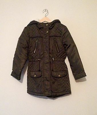 Matalan Girls Green Khaki Quilted Parka Coat With Faux Fur Lined Hood 8-9 Years