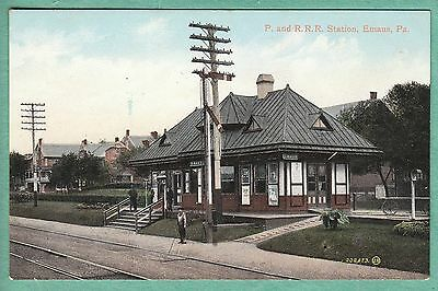 Old Postcard Rr Railroad Station Emaus Pa 1908