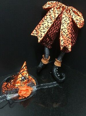 Halloween Wreath Supply - Posable Legs  Witch's Butt and Witch's Hat  Orange