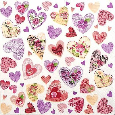 4 Single Table Party Paper Napkins for Decoupage Decopatch Craft Romantic Hearts