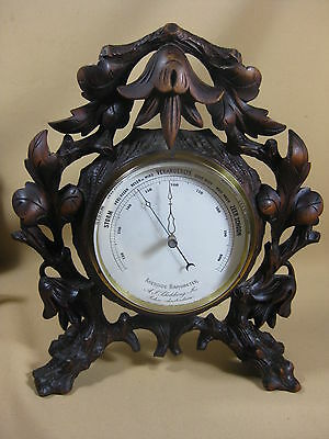 Antique Hand Carved Standing Aneroide Barometer