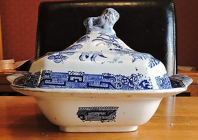 Vintage Blue and White Lidded Tureen with Lion Finial