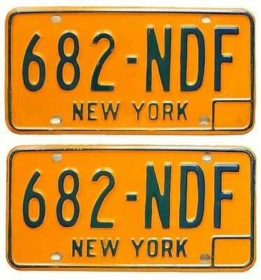 New York 1974-1986 License Plate PAIR, 682-NDF, Can Be Registered, High Quality