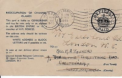 Jersey 1945 Reoccupation Postal Card Used