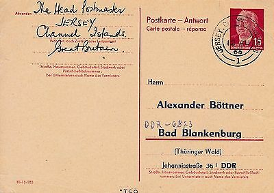 Jersey 1966 Unusual Use Of East German Reply Card Cancelled Jersey