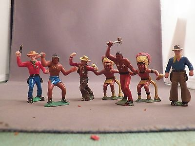 Heimo 60mm  Cowboys and Indians 7 Figures Six Different Made in Germany