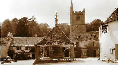 THE CROSS & CHURCH Castle Combe WILTSHIRE old rppc SOLOGLAZE SERIES Sweetman