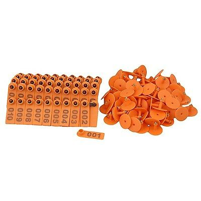 BQLZR Orange 1-100 Number Plastic Livestock Ear Tag Animal Tag for Goat Sheep...