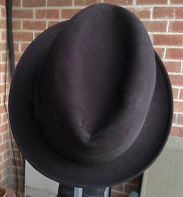 Mens Sz 7 3/8 Vintage Brown Resistol Fedora Stingy Brim Fedora Hat With Back Bow