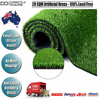 20 SQM Artificial Grass Lawn Synthetic Turf Outdoor Flooring Garden Gardening
