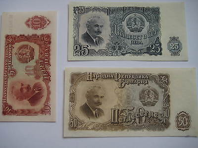Bulgaria Banknotes 1951. 50, 25 and 10 Leva Number of notes 3