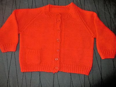 Vintage  Girls  Hand Knit By Nana Red Cardigan Age Approx  2-3 Vgc