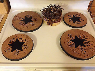 Set of 4 Country primitive rustic oven stove burner covers