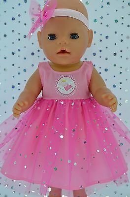 """Play n Wear Doll Clothes To Fit 17"""" Baby Born  PINK SEQUIN DRESS~HEADBAND"""