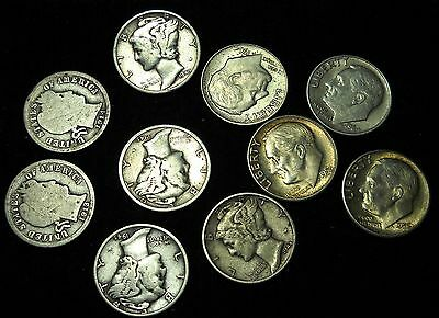 10 Mixed Silver Dimes, 10 Cent, US 90% Silver Coins, Barber, Mercury, Rosie! (3)