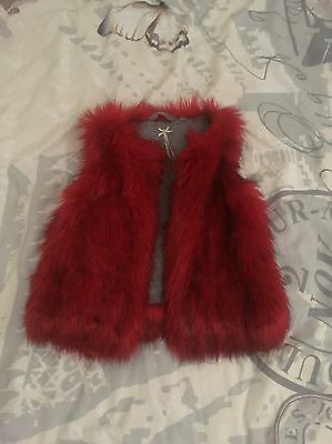 Next Red Fur Gilet Age 7
