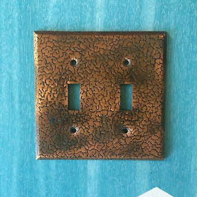 Vintage Mid Century Double Switch Plate Hammered Copper MCM 1960s  Light Cover